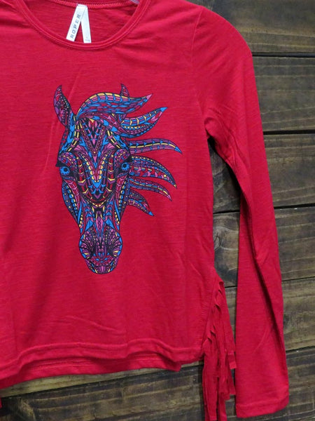 Roper 6079RE Girls Jersey Knit Long Sleeve Tee Red Close up