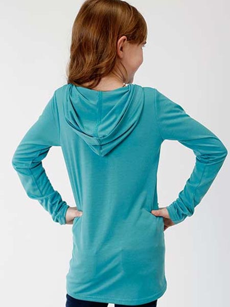 Roper 6089BU Girls Jersey Knit Long Sleeve Longhorn Hoodie Teal Back View