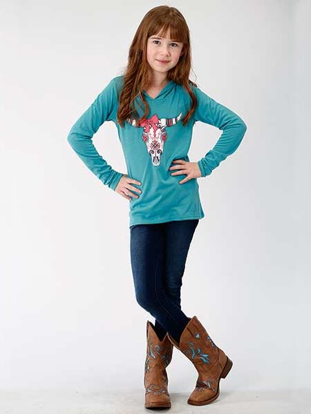 Roper 6089BU Girls Jersey Knit Long Sleeve Longhorn Hoodie Teal Standing