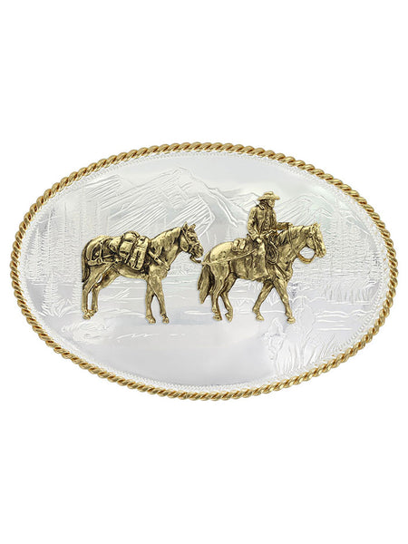 Montana Silversmiths 6250-35 Pack Horse and Rider Etched Mountains Buckle Front USA Made