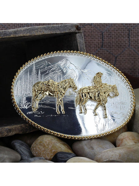 Montana Silversmiths 6250-35 Pack Horse and Rider Etched Mountains Buckle on display