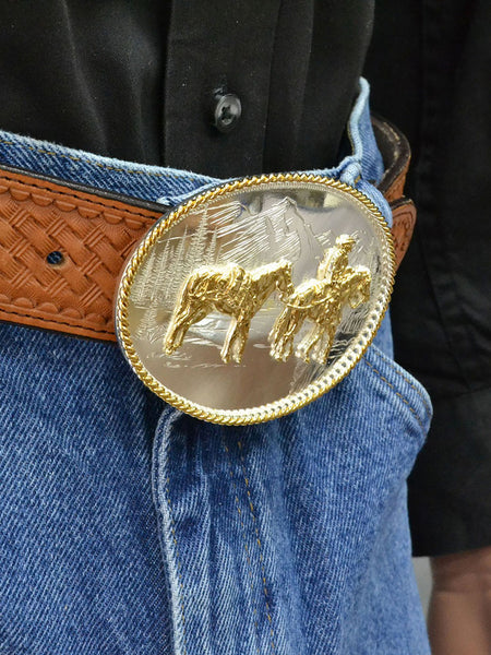 Montana Silversmiths 6250-35 Pack Horse and Rider Etched Mountains Buckle on model