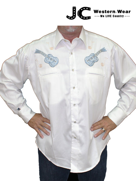 Rockmount Men's Guitar Embroidered Long Sleeve Western Shirt 6812