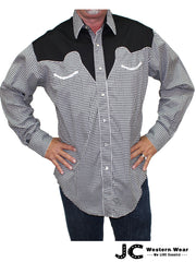 Rockmount Mens Black and White Checker Western Shirt 6870
