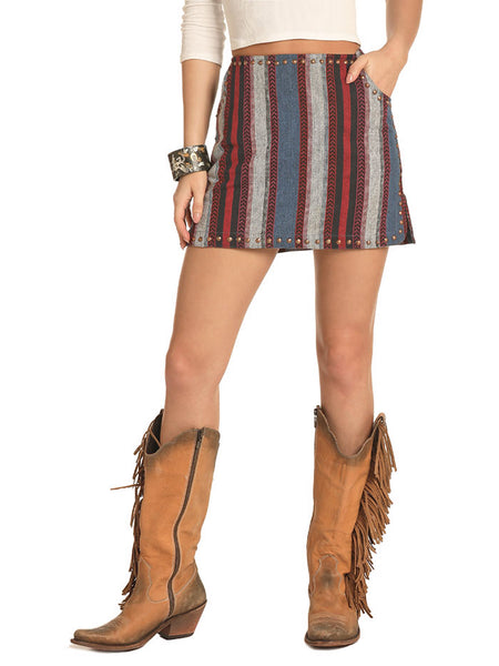 Rock & Roll Cowgirl 69-4492 Juniors Woven Multi Stripes Skirt A Girl wearing skirt