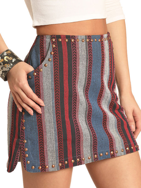 Rock & Roll Cowgirl 69-4492 Juniors Woven Multi Stripes Skirt side view