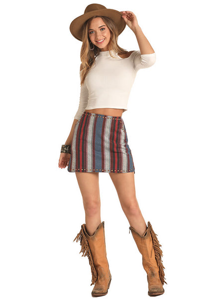 Rock & Roll Cowgirl 69-4492 Juniors Woven Multi Stripes Skirt Cute Girl