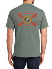 JC Western 6PC61SS Mens Florida Large Mouth Short Sleeve Tees Stonewashed Green