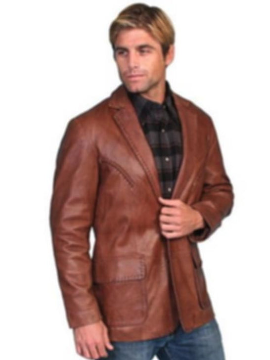 Scully 719 Mens Lambskin Whip Stitch Blazer Leather Coat Chocolate 427