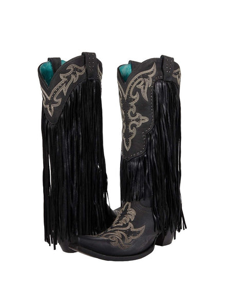 Corral C3706 Ladies Fringe Snip Toe Cowgirl Boot Black Front and Back View