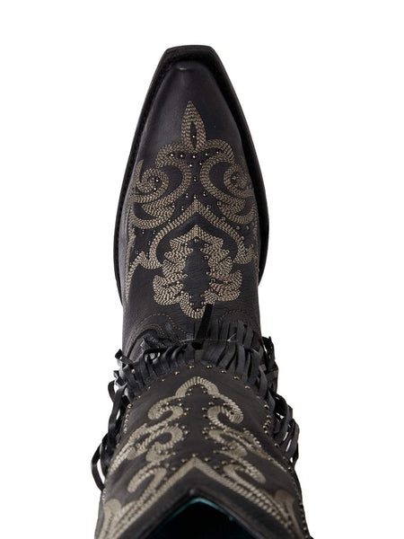 Corral C3706 Ladies Fringe Snip Toe Cowgirl Boot Black Top View