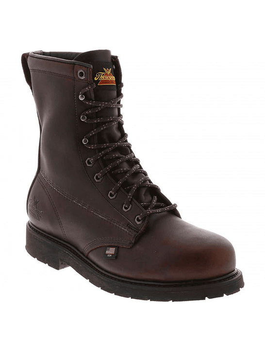 "Thorogood 804-3233 Mens 8"" Oil Rigger Steel Toe Work Boot Black Walnut Front Side"