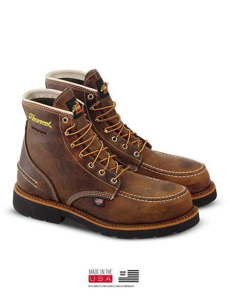 Thorogood 804-3696 Mens 6″ Crazyhorse Waterproof MAXWear90 Moc Toe Boot made in USA