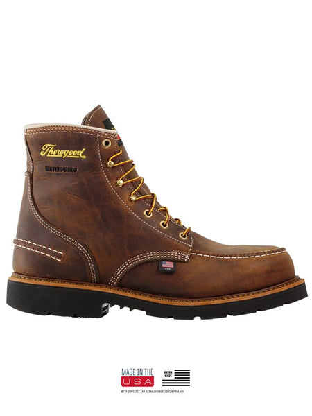 Thorogood 804-3696 Mens 6″ Crazyhorse Waterproof MAXWear90 Moc Toe Boot USA Made