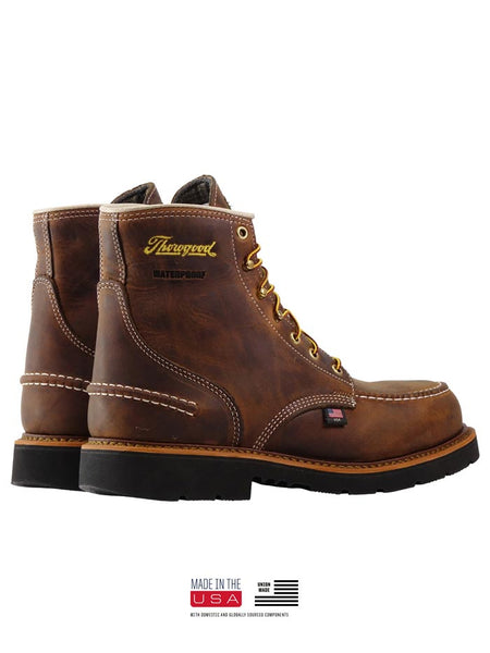 Thorogood 804-3696 Mens 6″ Crazyhorse Waterproof MAXWear90 Moc Toe Boot Pair