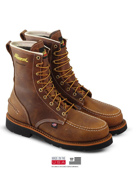 Thorogood 804-3898 Mens 8″ Crazyhorse Waterproof MAXWear90 Moc Toe Boot MADE IN USA