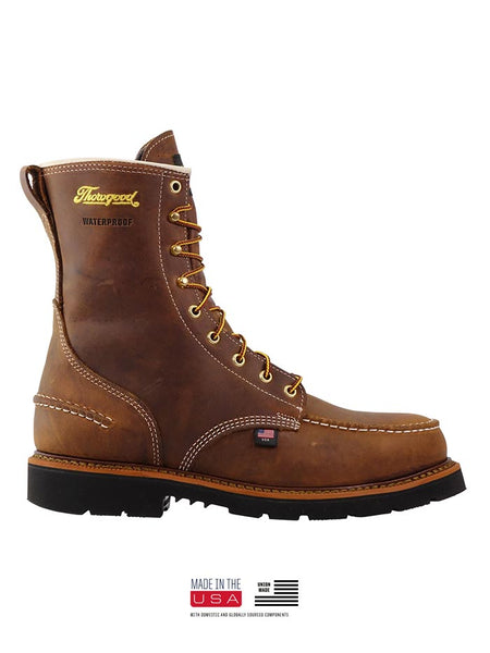 Thorogood 804-3898 Mens 8″ Crazyhorse Waterproof MAXWear90 Moc Toe Boot USA MADE