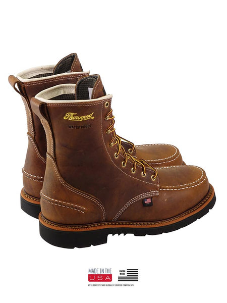 Thorogood 804-3898 Mens 8″ Crazyhorse Waterproof MAXWear90 Moc Toe Boot MADE IN THE USA