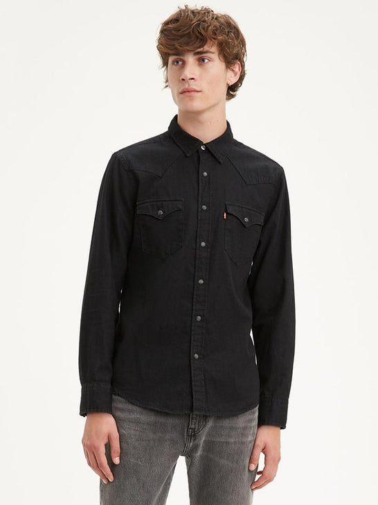 Levi's 85745-0000 Mens Barstow Classic Western Denim Snap Shirt Black 857450000 Front View
