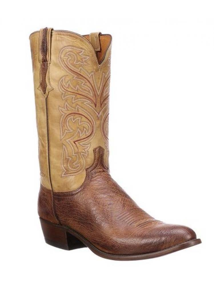 Lucchese N1160.R4 Mens Nathan Ostrich Boots Tan
