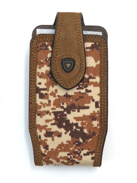 Ariat A0600644 Digital Camo Print Leather Cell Phone Case Brown Front