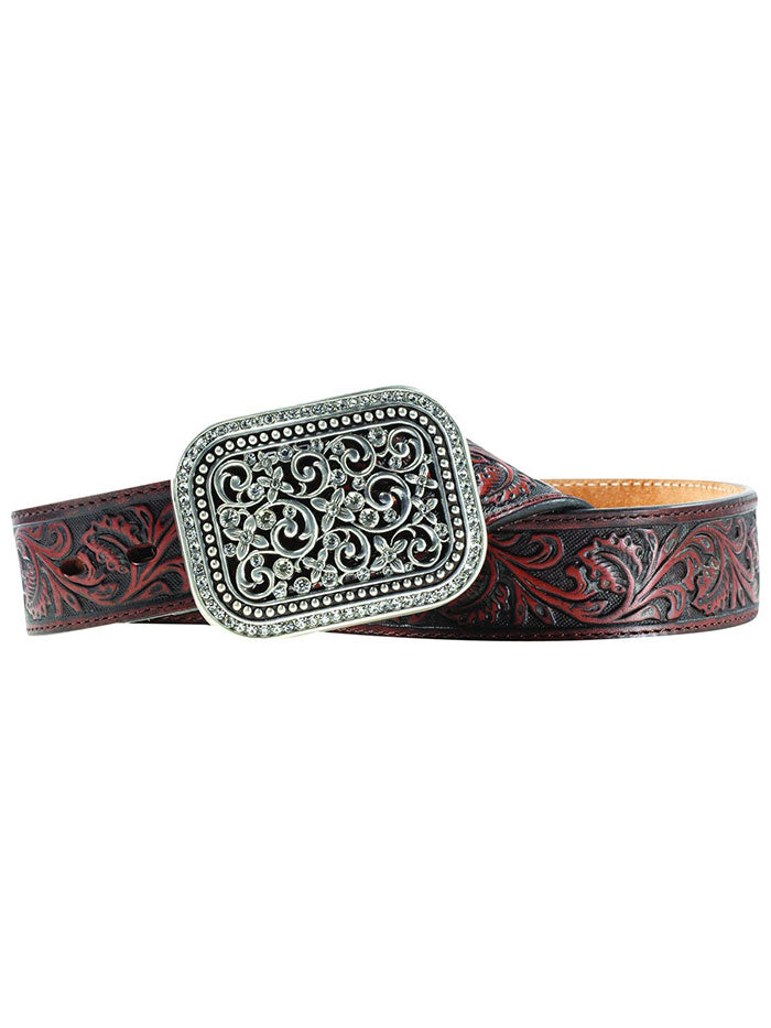 Ariat A10006957 Womens Embossed Leather Crystal Buckle Western Belt Brown fRONT VIEW