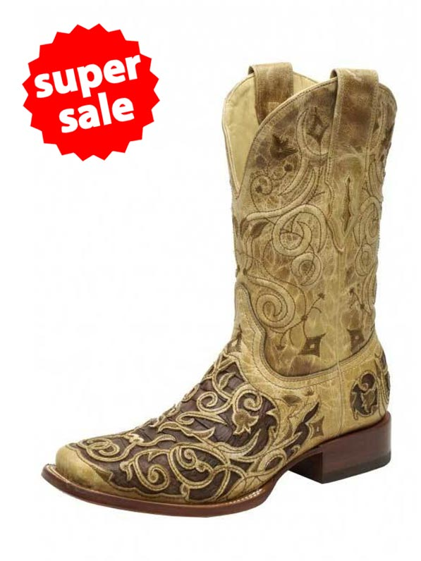 Corral A1328 Mens Square Toe Caiman Inlay Western Boots Tan Front View