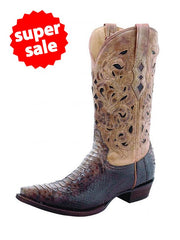 Mens A1806 Corral Brown Beige Python Laser Top Boot - D
