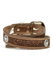 Nocona N2300602 Mens Circle Stars San Antonio USA Leather Belt Brown Leather Belt