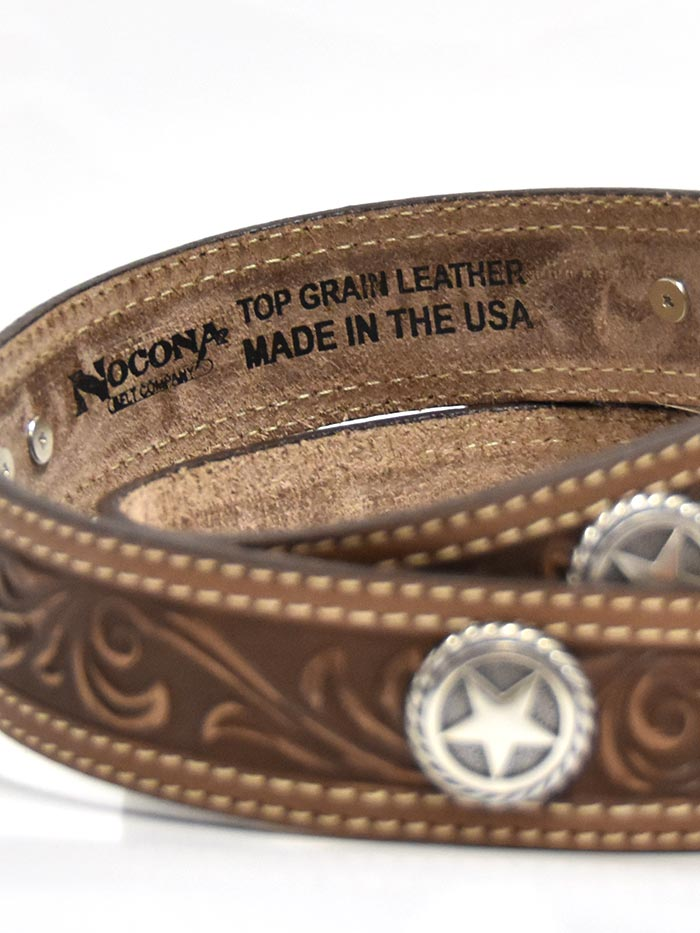 Front of Nocona N2300602 Mens Circle Stars San Antonio USA Leather Belt Brown