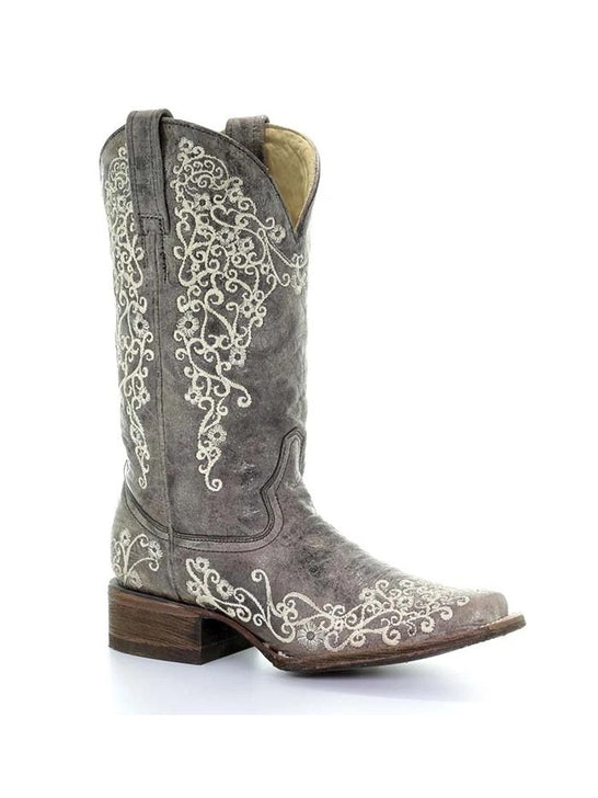 Corral A2663 Ladies Brown Crater Bone Embroidery Sq. Toe