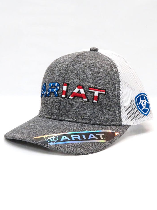 Ariat A300009406 Mens Flag Embroidery Trucker Mesh Back Cap 2-Tone Stars and Stripes