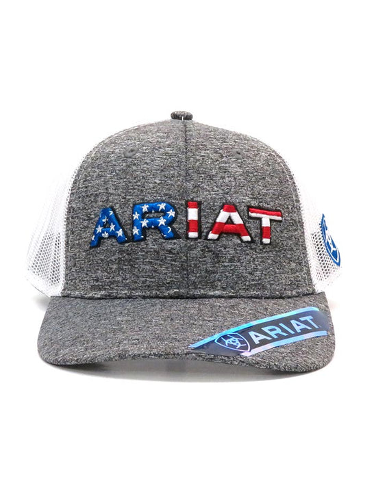 Ariat A300009406 Mens Flag Embroidery Trucker Mesh Back Cap 2-Tone Front