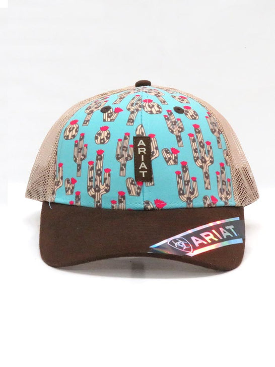 Front of Ariat A300010033 Womens Cactus Print Mesh Back Trucker Cap Multi