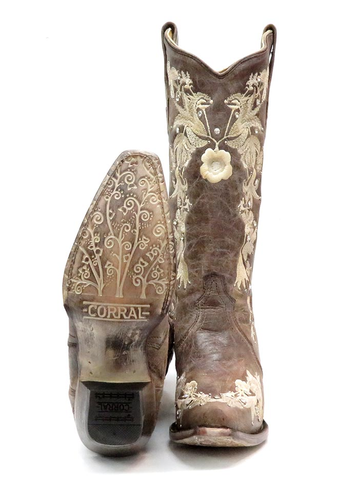 Corral Womens Tobacco Floral Embroidered Crystal Stud Boots A3572
