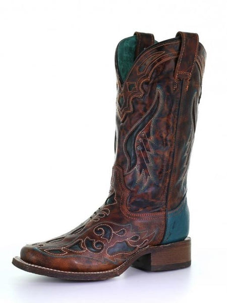 Corral A3813 Ladies Honey Green Laser Square Toe Boots
