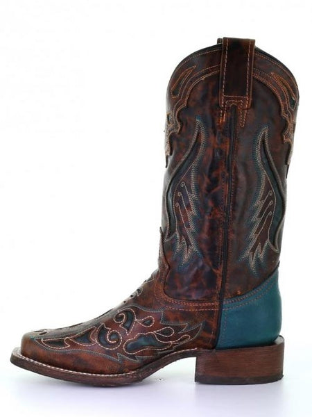 Side view of Corral A3813 Ladies Honey Green Laser Square Toe Boots