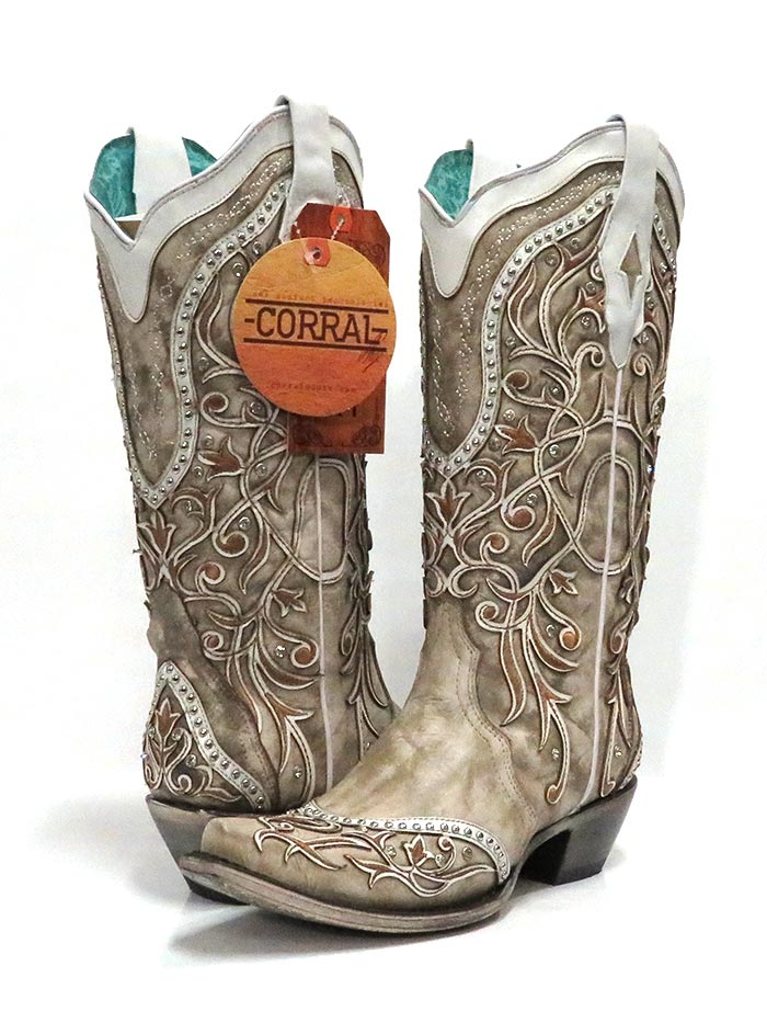 """Corral Women/'s Western Leather 20/"""" Embroidery Studs Tall Boots White//Black A3843"""
