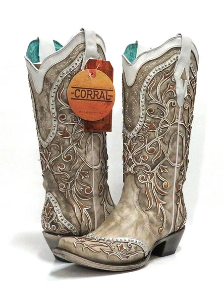 Corral A3837 Ladies Overlay Embroidered Studs and Crystals Boots White Pair