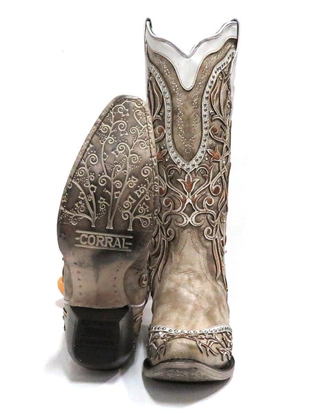 Corral A3837 Ladies Overlay Embroidered Studs and Crystals Boots White Sole