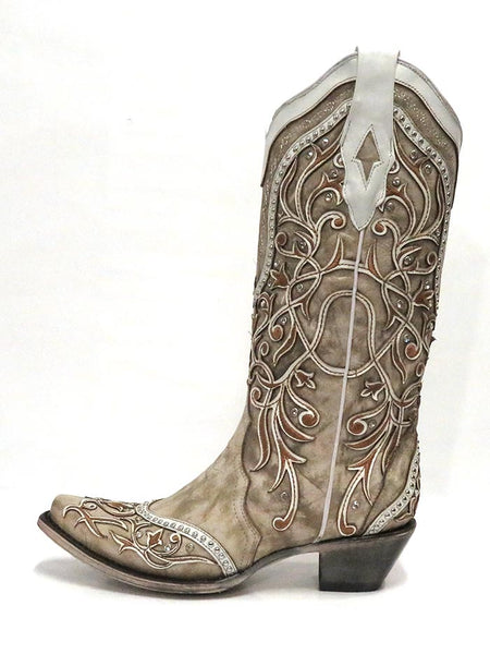 Corral A3837 Ladies Overlay Embroidered Studs and Crystals Boots White Side View
