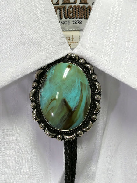Austin Accent AC53T Turquoise Concho Western Bolo Tie on a shirt