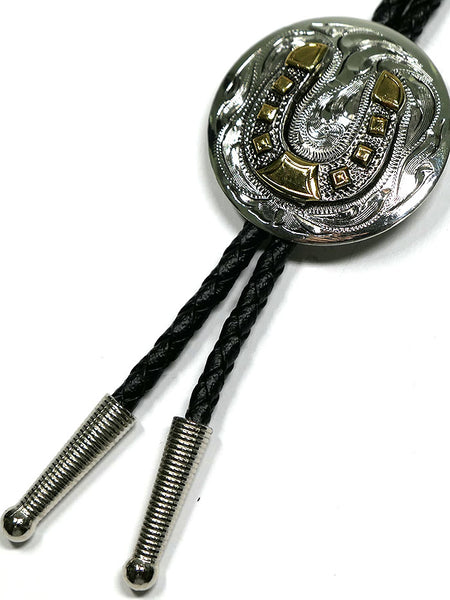 Austin Accent AC70HS Horseshoe Silver Concho Western Bolo Tie close up