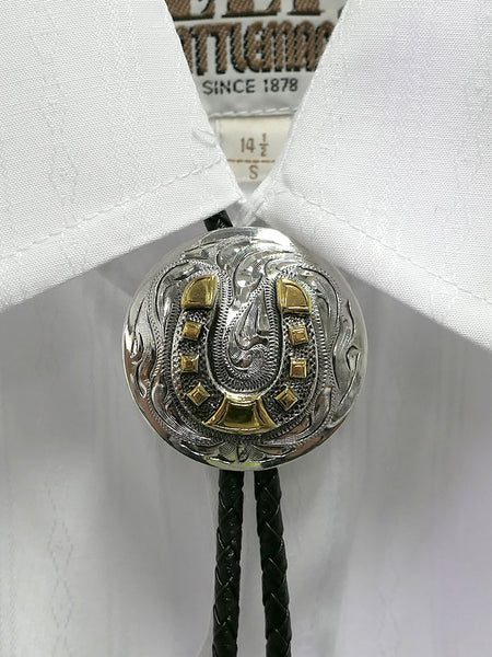Austin Accent AC70HS Horseshoe Silver Concho Western Bolo Tie on a shirt