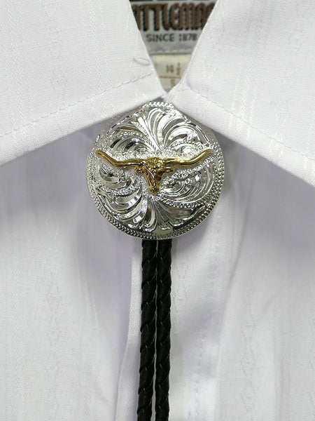 Austin Accent AC83P Longhorn Concho Silver Western Bolo Tie on a shirt