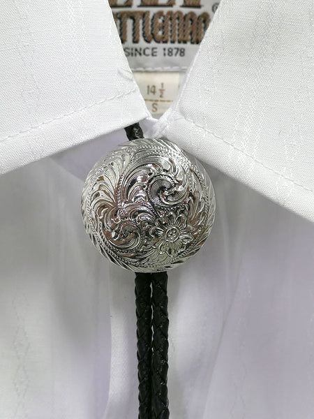 Austin Accent AC83S Silver Concho Western Bolo Tie on a shirt