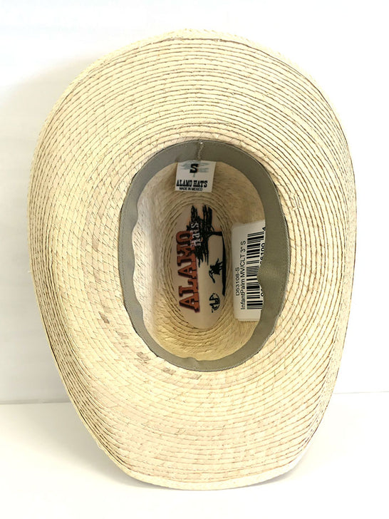 Alamo Hats D53108 Infant Palm Straw Cowboy Hat Natural inside view