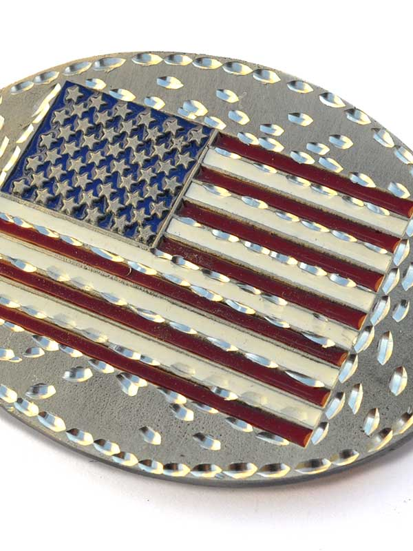 American Flag Oval Patriotic Attitude Belt Buckle 7018 Spec Cast - J.C. Western® Wear