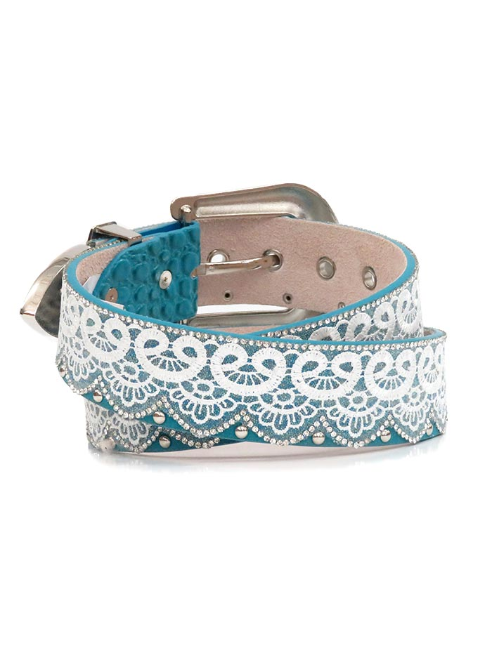 Angel Ranch Womens Crystal Studs Laced Fashion Belt A3657 front