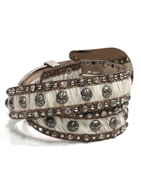 Angel Ranch DA1844 Womens Hair-on Inlay Studs and Crystals Belt